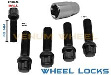 4 Pc BLACK BALL WHEEL LOCKS 14X1.5 (40 MM) FITS AUDI EXTENDED SHANK
