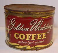 Old Vintage 1930s GOLDEN WEDDING KEYWIND COFFEE TIN 1 POUND KANSAS CITY MISSOURI