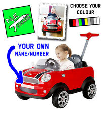 FRONT (+back?) Personalised kids number plate for MINI COOPER push along toy car