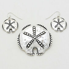 Sand Dollar Pendant Earrings SET SeaLife Textured Knob Edge SILVER Beach Jewelry