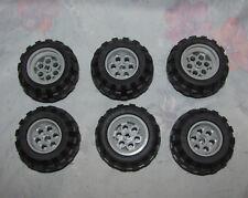 """Lego Black Rubbery, Plastic Wheel/Tire - Lot of 6 - 1 5/8"""" Across - Grey Inside"""