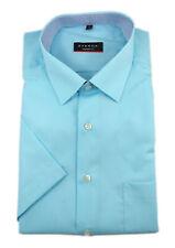Eterna Mens Short Sleeve Shirt Modern Fit Kent Turquoise Patch Size 38/8502.61.C...