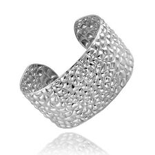 Stainless Steel Pebble Textured Cuff Bangle Bracelet