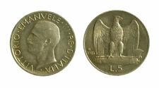 166) Vittorio Emanuele III (1900-1943) 5 Lire Aquilino 1928 * TONED