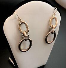 Gold And Silver Tone Door Knocker Earrings Hook Backs Long Dangle