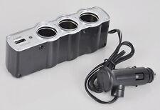 DR UK 3 Way Car Cigarette Lighter Socket Splitter Charger Power DC+USB 12V-24V