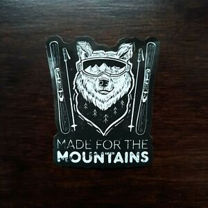 WOLF SKI STICKER - Made For Mountains Waterproof Fun Snow Vinyl Decal NEW Cool