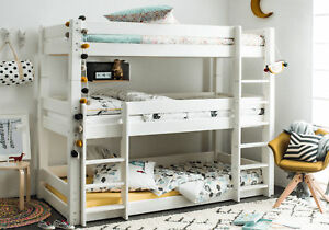 Solid Wood Bunk Bed Frame Triple White Painted Modern Design Scandinavia