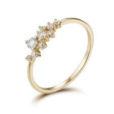 Elegant Women's 14k Gold Plated Engagement Ring Inlay Zircon Crystal Jewelry