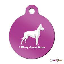 I Love My Great Dane Engraved Keychain Round Tag w/tab German Mastiff profile