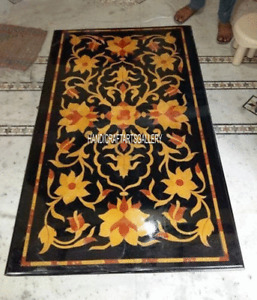 Black Marble Dining Table Top Precious Mosaic Marquetry Inlay Home Decors H2875