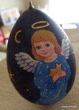 Russian WOOD blue  ANGEL  HAND PAINTED ORNAMENT -EGG