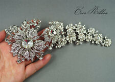 "8.7"" Extra Large Silver Crystal Flower Brooch Rhinestone Brooches Pin Bridal G40"