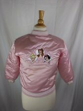 Disney Princess Pink Puffy Snap Jacket Youth Medium M Nylon Lined Poly