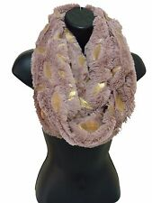 Ladies Women Girl Long Faux Fur Gold Metallic Foil Feather PINK Soft Warm Snood