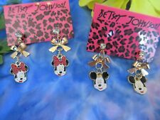 Earrings Lot 2 pairs New A#2 Betsey Johnson Minnie & Mickey Mouse Dangle