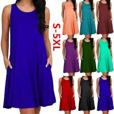 Women Summer Crew Neck Sleeve Mini Dress Casual Solid Dress Loose Party Sundress