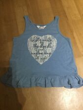 GIRLS BLUE H&M VEST TOP WITH LACE APPLIQUÉ HEART AND LOGO AGE 10/12