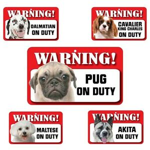 Pet Dog Warning Signs - Over 50 Types - Laminated Card Indoor Use - 20cm x 12cm