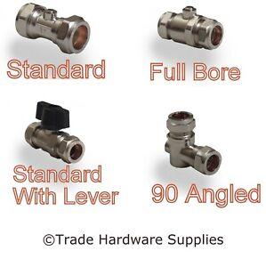 Isolation Valves, Standard & Full Bore 15mm, 22mm Chrome ISO Plumbing