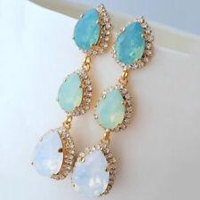 Simple Aquamarine Multi Color Stud Hoop Dangle Earring Gifts ON SALE