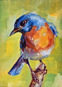 BLUEBIRD 4 Original ACEO Mini Oil Painting, Bluebird by Lee Ellen Smith