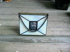 Rare Leaded Slag Glass Purse Chain Rope Handle Einstein Rendered In Glass Panel
