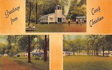 Mill Run Pennsylvania Camp Christian Multiview Linen Antique Postcard (J35283)