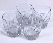 "Clear Swirled Design Cocktail Whiskey Glass LOT OF 4 - 4"" Tall"