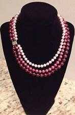 """Cultured Freshwater Pink, Mauve & Cranberry Pearl Triple Strand 14K 18"""" Necklace"""