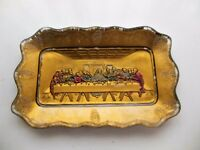 Indiana Goofus Glass Painted Decorated Lord's Supper Bread Tray
