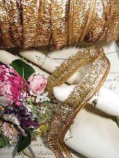 1y VINTAGE FRENCH GOLD METAL FRINGE TRIM RIBBON MILLINERY FLOWER COCARDE FLAPPER