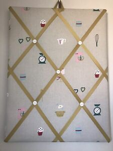 Hand Made Fabric Notice Board In Sophie Allport Baking Fabric