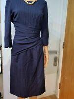 HOBBS STRIPED RUCHED DRESS SIZE UK 10 US 6 95%WOOL 5%ELASTANE BLUE CREAM