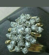 3.00 CARAT DIAMOND WATERFALL CLUSTER COCKTAIL RING 10K YELLOW GOLD OVER HUGE