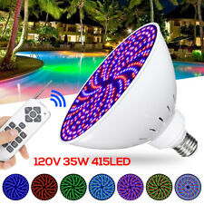 120V 35W RGB 415LED Swimming Pool Light  Bulb 7 Color Mode + Remote Controller