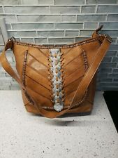 Kensie Faux Brown Pebble Leather And Snake Skin Accent Shoulder Bag Purse