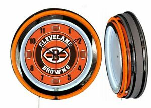 """Cleveland Browns 19"""" ORANGE Neon Clock Man Cave Game Room Bar Football Dial"""