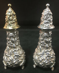 Pair Of Stieff Rose Repousse Sterling Silver Shakers # 12 No Monograms