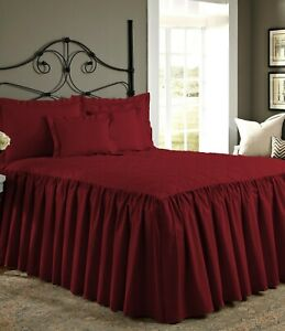 """1 Piece 800tc Egyptian Cotton Quilted Ruffle Bed Spread 25"""" drop all size &color"""