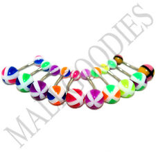 W061 Acrylic Belly Rings Bars Barbells Stripes Shape Design LOT of 10 colors