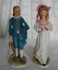 Lefton china hand painted limited edition bisque Pinky & Blue boy figure kw381