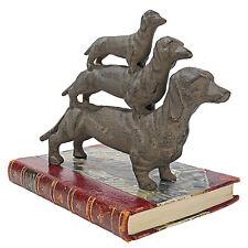 Stacked Dachshund Puppy Hot Dog Cast Iron Statue Home Garden Sculpture