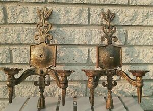 """Pair Vtg Gothic Iron Wall Sconces 14,5"""" 2 arm need sockets wiring Lowry Co."""