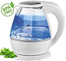 Glas Design Wasserkocher mit LED Beleuchtung 2000 W 1,5 L 360° kabellos WEIß NEU