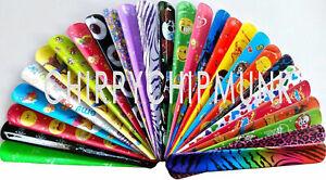 Bulk Lot x 30 Mixed Wrist Snap Slap Bands Kids Party Favor Novelty Toys NEW