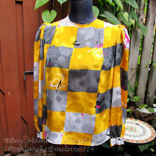 Vintage 1980s Loud Pattern Puff Shoulder Blouse Eva Laurel Paris NY 10 Abstract
