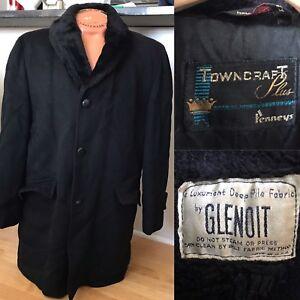 Vintage MENS Penneys Towncraft Plus Black Coat Glenoit Deep Pile Lining & Collar