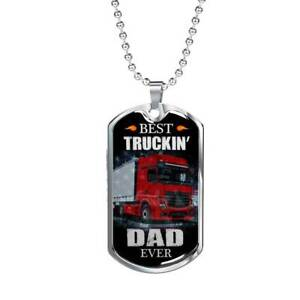 """Best Truckin Dad Ever Dog Tag Stainless Steel or 18k Gold w 24"""" Chain"""