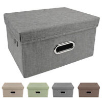 Storage Bins Collapsible Stackable Linen Fabric Cubes Boxes Containers Organizer